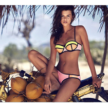 Bikini Vintage Push Up Hermoso Traje De Baño Mujer Tricolor!