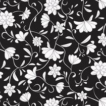 Papel Muresco Galia Negro Blanco Flores Lavable 461