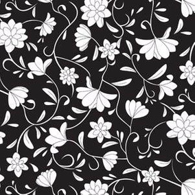 papel muresco galia negro blanco flores lavable