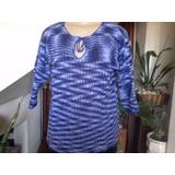 Blusa De Linha Em Algodão Mesclado Em Azul Em Crochê Tam M.