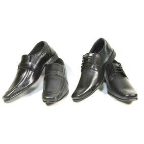 2 Pares Sapato Social Masculino Preto Bico Fino Cadarços