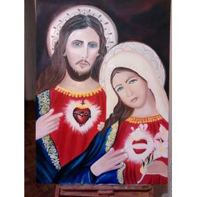 Sagrado Coração De Jesus Pintado A Mão Numa Tela 70x 100