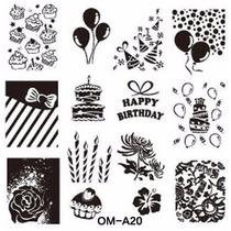 Placa De Inox Para Decorar As Unhas Parabéns Happy Birthday