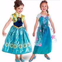 Vestido Fantsia Frozen Fever Pronta Entrega 3 A 7 Anos
