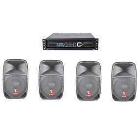 Kit Amplificador Mas 4 Bafles Bocina 15 Poder 6000w Kaiser