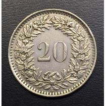 Swi245 Moneda Suiza 20 Rappen 1960 Vf+ Ayff