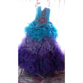 Vestido De Xv Años Color Aguamarina Con 2 Morados