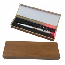 Caneta Esferografica Laser E Lanterna Estojo Caixa Madeira