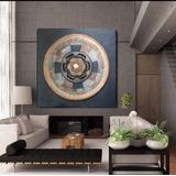 Cuadro Grande Rosetón Mandala A Mano Moderno Relieve Textura