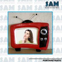 Portaretrato En Resina Tele Tv Foto Vintage Fiesta Recuerdo