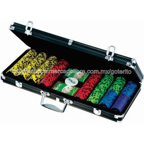 Poker Juego 400 Fichas 13.5 G Estuche Aluminio Fibra Carbon