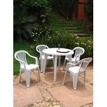 Conjunto Mesa Redonda 90x90 + 4 Cadeira Poltrona Plástica Bc