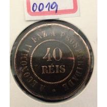 0019 - Moeda Antiga - 40 Reis Bronze - 1908 - Mbc+++