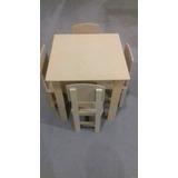 Mesa Infantil Com 4 Cadeiras Em Mdf Cru.