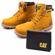 Bota Coturno Caterpillar Cat Steel Toe + Brinde Frete Grátis