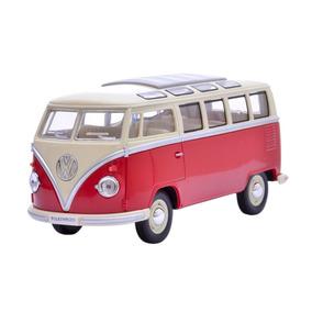 Miniatura Volkswa Kombi 1962 1:24 Kinsmart Laranja