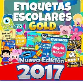 Etiquetas Escolares Kit Imprimible Gold 2017 Ahora + 8 Gigas