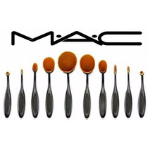 Set 10 Brochas Oval Mac Base Polvo Rubor Labial Tienda