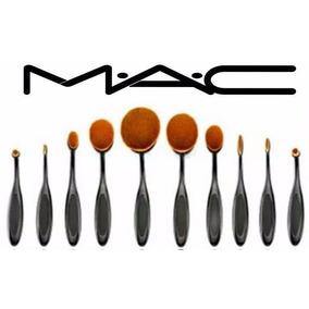 Set 10 Brochas Oval Mac Base Polvo Rubor Labial Tienda