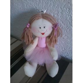 Boneca Artesanal De Pano Bailarina 24cm Decoração Rosa