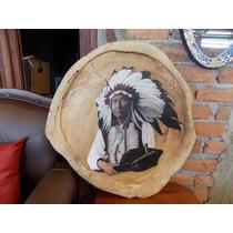 Pintura Oleo Sobre Madera De Parota De Apache Estilo Antiguo