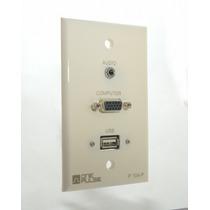 Placa Pared Tapa Plastico Audio & Vga & Usb. (one Pulse)