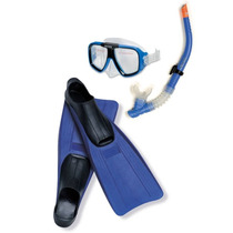 Set De Snorkel Azul Visor Aletas 24-26 Cm Marca Intex