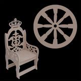 Banco Cadeira Mdf Princesa Príncipe + 04 Rodas Carroça