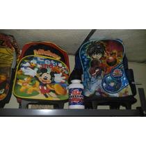 Bolso Morral Escolar Ruedas Disney Mickey, Cars, Bakugan