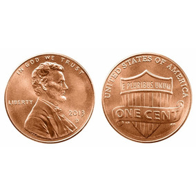 Moeda Usa 1 Cents Lincoln 2013 Letra D Escudo Fc