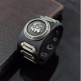 Pulsera Negra Diesel, Cuero Detalles Metal, Modelo Exclusivo
