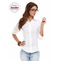 Camisa Elastizada Dama Entallada Lisa Once