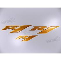 Kit Emblemas Adesivos Resinado Yamaha R1 Dourado