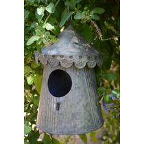 Adorno P/jardín Casa Casita Pájaro Chapa Hierro Cónico
