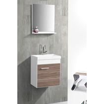 Gabinete Banheiro Small Mdf 40cm Branco Rustico Pia Espelho