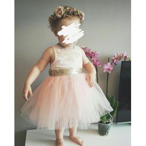 Elegante Vestido Para Niña Coral Con Tutú Y Moño