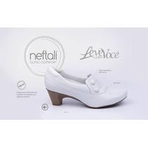 Sapato Feminino Branco De Couro Enfermagem Neftali Ref.4707