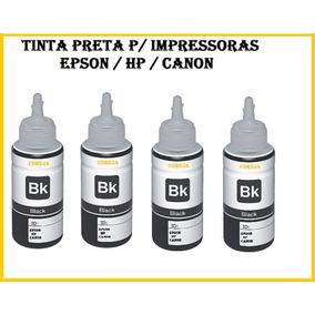 Kit Refil C/ 4 Tinta Preta P/ Impressora Epson Hp Canon