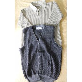 Lote Hombres Sweater Con Cuello Y Chaleco En Talle Medium