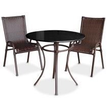 Conjunto De Mesa Jantar Maceió Com 02 Cadeiras Vime E Tampo