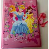 Libreta En Vinilo Disney Princess Con Candado Coleccionable