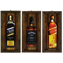 5 Quadros Com Moldura Rústica - Whisky - Whiskey - Bar
