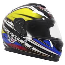 Casco Motociclismo Integral R7 107 Azul/amarillo Talla L