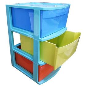 Gaveteiro Plástico Colorido Com 3 Gavetas Organizador Com Ro