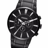 Reloj Fossil Fs4778 Black Steel Chronograph Acero Empavonado