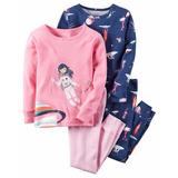 Set De Pijama Manga Larga Carters 4 Piezas Niña 9 Meses