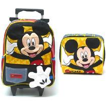 Kit Mochila Escolar Rodinhas Mickey Mouse +lancheira Sestini