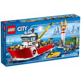 Lego City 60109 Barco De Combate Ao Fogo 412 Peças