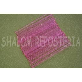 *50 Palitos De Plastico Cristal Rosa Neon,paletas Chocolate*