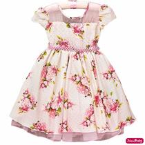 Vestido Infantil Floral Rosa Luxo Princesa 4 A 12 Promoção